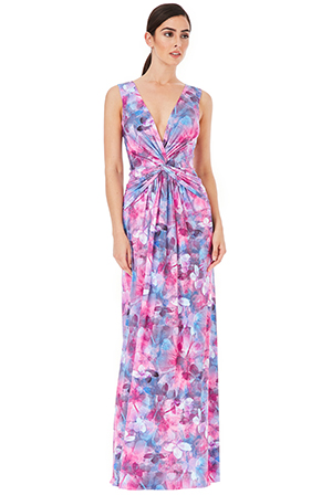 Wholesale-Deep-V-Knotted-Front-Printed-Maxi-Dress