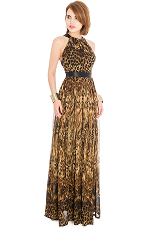 Wholesale Leopard Print Halter Neck Chiffon Maxi Dress