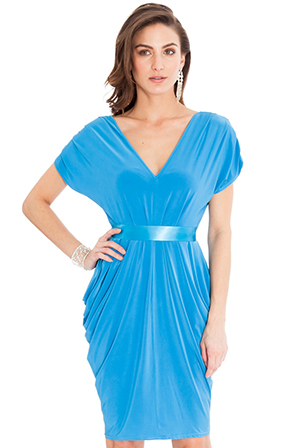 Wholesale-Draped-Midi-Dress-with-a-Bow