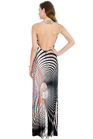 Wholesale Abstract Print Open Back Maxi Dress
