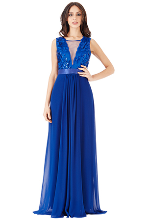 Wholesale V Neckline Chiffon Maxi Dress
