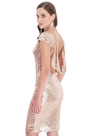 Wholesale Open Back Sequin Midi Dress
