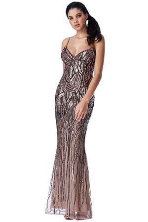 Wholesale-Patterned-Sequined-Maxi-Dress