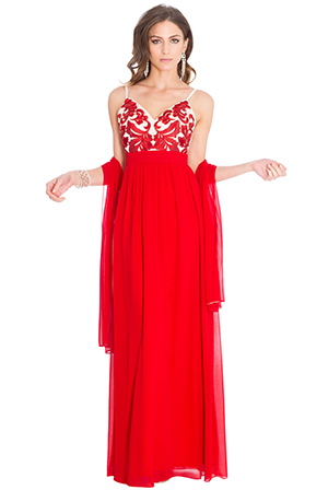 Wholesale Embroidered Prom Maxi Dress with Scarf