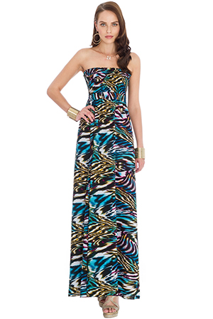 Wholesale Strapless Multiprint Maxi Dress
