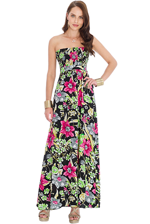 Wholesale Strapless Flower Print Maxi Dress