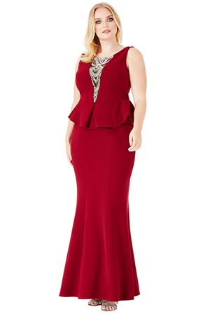 Wholesale Plus Size Embellished Neckline Maxi Dress