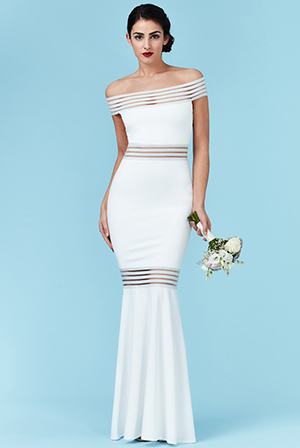 Wholesale Bardot Fishtail Maxi Wedding Dress