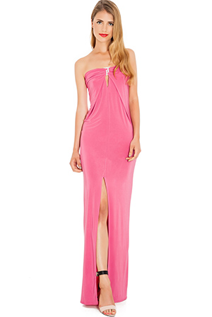 Wholesale Strapless Front Split Maxi Dress
