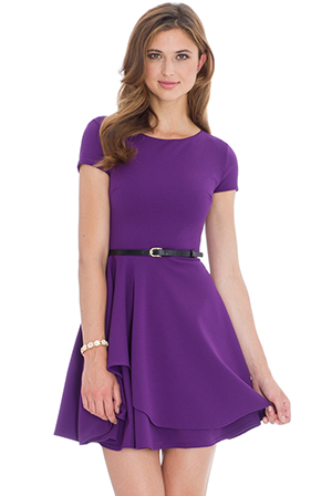 Wholesale-Skater-Dress-with-a-Belt