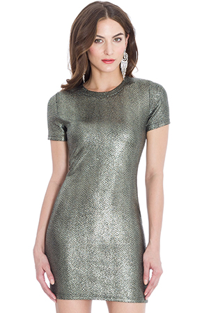 Wholesale Metallic Reptile Print Mini Dress