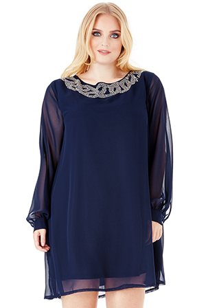 Wholesale Plus Size Embellished Shift Dress with Long Sleeves