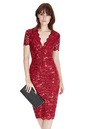 Wholesale-Sequin-Lace-Midi-Dress