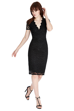 Wholesale Lace V Neck Midi Dress