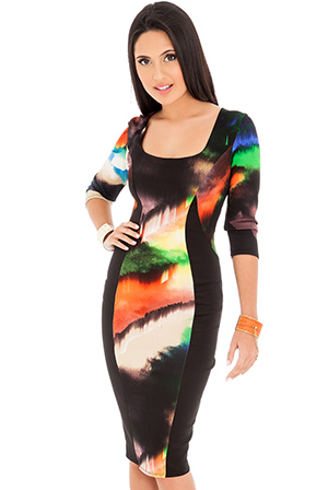 Abstract-Print-Bodycon-Midi-Dress