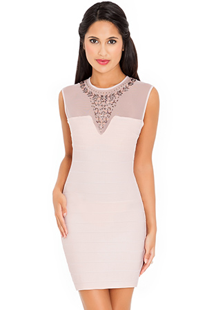 Wholesale Embellished Neck Dress