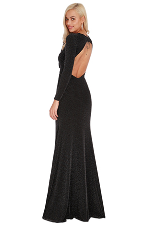 Wholesale-Glitter-Backless-Long-Sleeved-Maxi-Dress