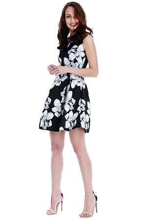 Wholesale Flower Print Skater Dress