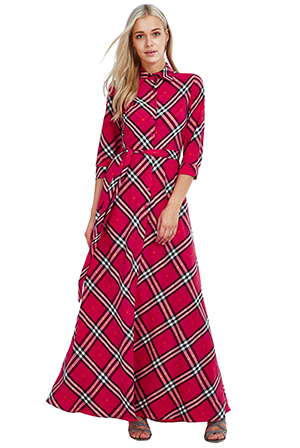 Wholesale Checked Maxi Shirt Dress