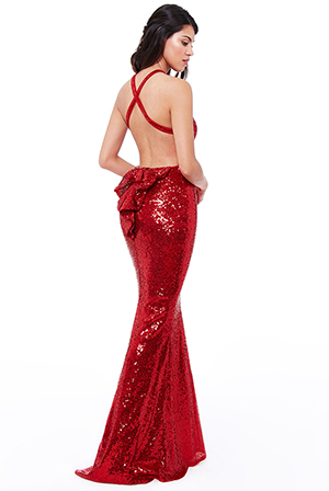 Wholesale-Bow-Detail-Sequin-Maxi-Dress