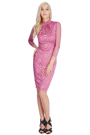 Wholesale-High-Neck-Lace-Midi-Dress
