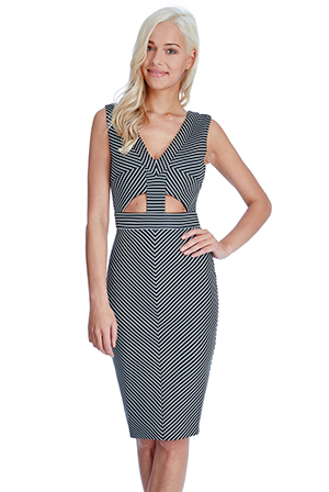 Wholesale-Geometric-Cut-Outs-Midi-Dress