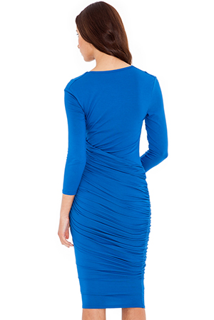 Wholesale Ruched cowl neck dress