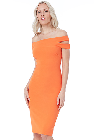 Wholesale-Double-Bardot-Midi-Dress