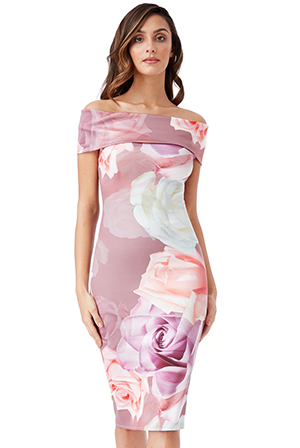 Wholesale-Bardot-Neckline-Floral-Midi-Dress