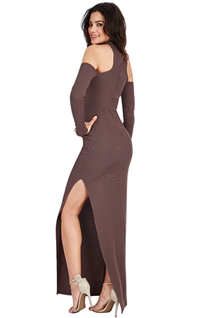Wholesale-High-Neck-Cold-Shoulder-Maxi-Dress