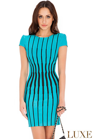 Wholesale Striped Bodycon Dress in the style of Kristen Stewart