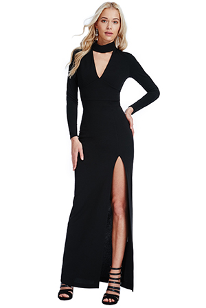 Wholesale-V-Neck-Cutout-Long-Sleeved-Maxi-Dress