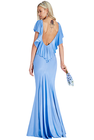 Wholesale Open Back Ruffled Maxi Dress