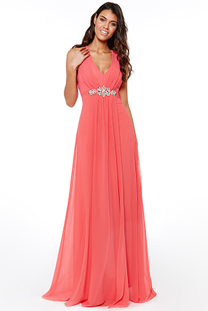 Wholesale-V-Neck-Embellished-Maxi-Dress