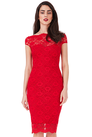 Wholesale-Bardot-Lace-Midi-Dress