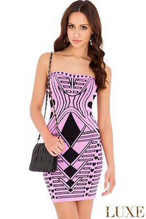 Wholesale Strapless Print Bodycon Dress