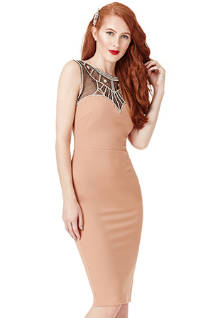 Wholesale-Embellished-Fitted-Midi-Dress