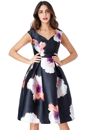 Wholesale-Floral-Print-Satin-Skater-Dress