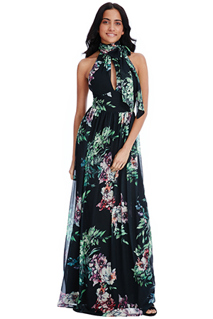 Wholesale Halterneck Floral Print Maxi Dress