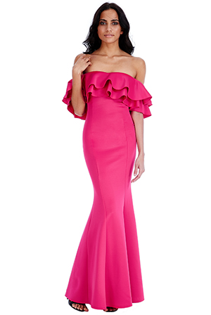 Wholesale Ruffle Bardot Maxi Dress