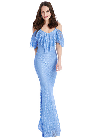 Wholesale Ruffled Bardot Lace Maxi Dress with Straps