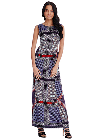 Wholesale Geometric Print Open Back Maxi Dress