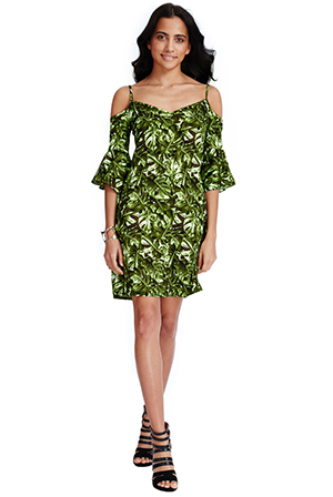 Wholesale Tropical Leaf Print Cold Shoulder Mini Dress
