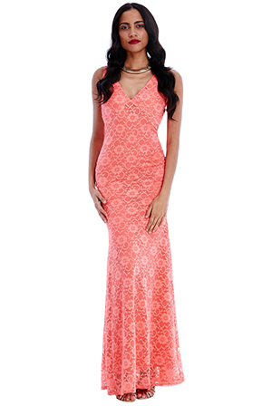 Wholesale-V-Neckline-Lace-Maxi-Dress