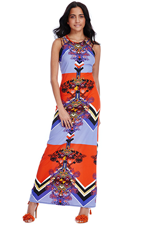 Wholesale-Art-Deco-Print-Maxi-Dress