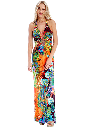 Wholesale Oriental Print Maxi Dress