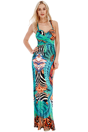 Wholesale Psychedelic Print Open Back Maxi Dress