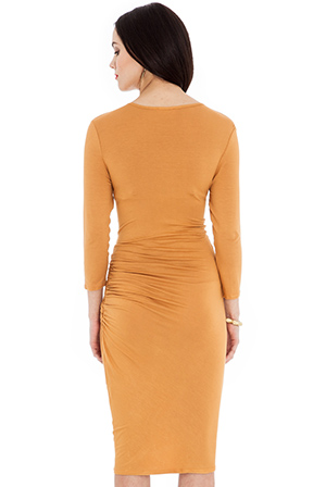 Wholesale Gathered 3/4 length dress with cowl neck