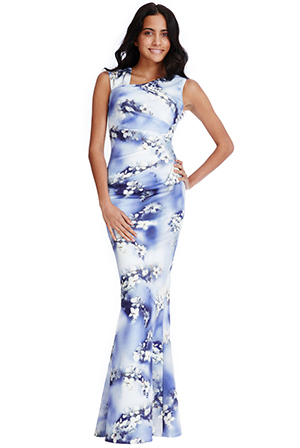 Wholesale Pleated Detail Floral Maxi Dress