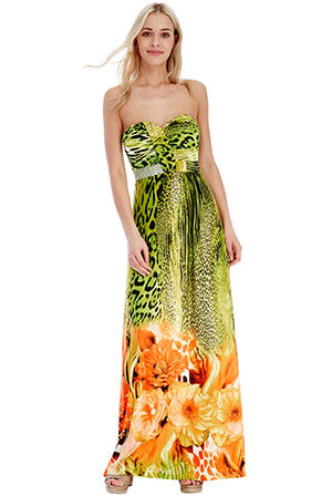 Wholesale Leopard and Floral Print Strapless Maxi Dress